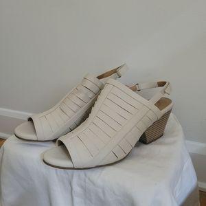 NWOT Beige Open Toe Slingback Platform Heels